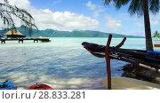 Купить «kayaks moored on beach in french polynesia», видеоролик № 28833281, снято 1 июля 2018 г. (c) Syda Productions / Фотобанк Лори