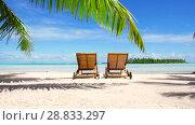 Купить «two sunbeds on tropical beach in french polynesia», видеоролик № 28833297, снято 1 июля 2018 г. (c) Syda Productions / Фотобанк Лори