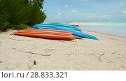 Купить «kayaks moored on beach in french polynesia», видеоролик № 28833321, снято 1 июля 2018 г. (c) Syda Productions / Фотобанк Лори