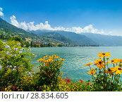 Landscape of Montreux city in Switzerland. Стоковое фото, фотограф Антон Гвоздиков / Фотобанк Лори