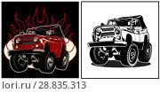 Купить «Cartoon 4x4 car», иллюстрация № 28835313 (c) Александр Володин / Фотобанк Лори