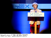 Купить «Prime Minister Theresa May, leader of the Conservative Party, addressing the annual Scottish Conservative Conference at the SECC in Glasgow. Featuring...», фото № 28839597, снято 3 марта 2017 г. (c) age Fotostock / Фотобанк Лори
