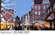Купить «Picturesque architecture of Gdansk streets in twilight, Poland», видеоролик № 28840901, снято 12 мая 2018 г. (c) Яков Филимонов / Фотобанк Лори