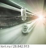 Купить «Speed of train and plane traveling», фото № 28842913, снято 21 октября 2018 г. (c) Яков Филимонов / Фотобанк Лори