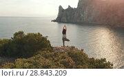 Купить «Aerial view woman do yoga», видеоролик № 28843209, снято 19 июля 2018 г. (c) Илья Шаматура / Фотобанк Лори