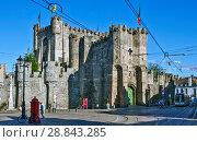 Купить «Гравенстеен (Gravensteen) или Замок графов Фландрии. Гент. Бельгия», фото № 28843285, снято 6 мая 2018 г. (c) Сергей Афанасьев / Фотобанк Лори