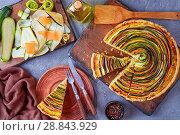 Купить «Spiral tart with zucchini, eggplant, carrot», фото № 28843929, снято 19 июля 2018 г. (c) Oksana Zh / Фотобанк Лори