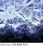 Купить «Frosty pattern on winter window», фото № 28844521, снято 18 августа 2018 г. (c) ElenArt / Фотобанк Лори
