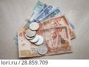Купить «Jordanian dinars and piastres coins», фото № 28859709, снято 19 мая 2018 г. (c) EugeneSergeev / Фотобанк Лори