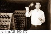 Купить «Proficient concentrated man holding glass of wine in cellar», фото № 28860177, снято 21 сентября 2016 г. (c) Яков Филимонов / Фотобанк Лори