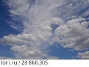 Купить «Синее небо с белыми воздушными облаками», эксклюзивное фото № 28860305, снято 30 мая 2016 г. (c) lana1501 / Фотобанк Лори