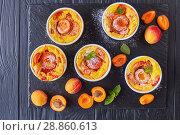 Купить «french summer dessert - Baked apricot clafoutis», фото № 28860613, снято 22 июля 2018 г. (c) Oksana Zh / Фотобанк Лори