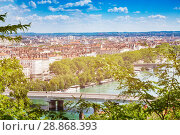 Купить «View of Lyon with bridges across the Rhone river», фото № 28868393, снято 14 июля 2017 г. (c) Сергей Новиков / Фотобанк Лори