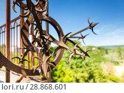 Купить «Wrought-iron fence with artistic forging», фото № 28868601, снято 25 мая 2017 г. (c) Сергей Новиков / Фотобанк Лори