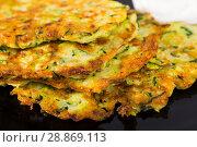 Купить «Pancakes from courgettes is tasty vegeterian dish», фото № 28869113, снято 15 октября 2018 г. (c) Яков Филимонов / Фотобанк Лори