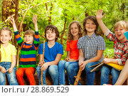 Купить «Happy kids having fun in the outdoor summer camp», фото № 28869529, снято 9 мая 2016 г. (c) Сергей Новиков / Фотобанк Лори