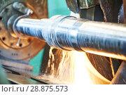 Купить «metal industry. finishing shaft surface on grinder machine», фото № 28875573, снято 4 июля 2018 г. (c) Дмитрий Калиновский / Фотобанк Лори