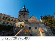 Купить «Clock tower from fortress square in Sighisoara, Romania», фото № 28876493, снято 16 сентября 2017 г. (c) Яков Филимонов / Фотобанк Лори