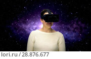Купить «woman with vr headset and coding over space», видеоролик № 28876677, снято 5 апреля 2020 г. (c) Syda Productions / Фотобанк Лори