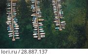Купить «Aerial view of boats docked in port», видеоролик № 28887137, снято 20 июля 2018 г. (c) Илья Шаматура / Фотобанк Лори