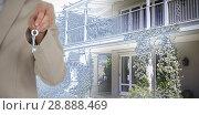 Купить «Composite image of mid section of executive showing new house key», фото № 28888469, снято 13 ноября 2019 г. (c) Wavebreak Media / Фотобанк Лори