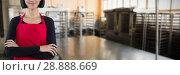 Купить «Composite image of smiling waitress standing with arms crossed against white background», фото № 28888669, снято 10 июля 2020 г. (c) Wavebreak Media / Фотобанк Лори