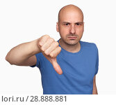Купить «grumpy bald man gesturing his thumb down», фото № 28888881, снято 7 июля 2018 г. (c) Александр Лычагин / Фотобанк Лори