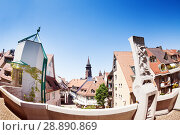 Cityscape of Freiburg with Munster cathedral tower. Стоковое фото, фотограф Сергей Новиков / Фотобанк Лори
