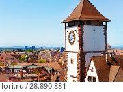 Freiburg city view with Schwabentor tower, Germany (2017 год). Стоковое фото, фотограф Сергей Новиков / Фотобанк Лори