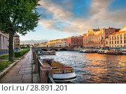Купить «Фонтанка на закате Fontanka River in St. Petersburg on a summer sunny evening», фото № 28891201, снято 4 июня 2018 г. (c) Baturina Yuliya / Фотобанк Лори