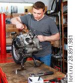 Купить «Male mechanic is repairing modern moto and looking on detail for it in the workshop.», фото № 28891981, снято 8 мая 2018 г. (c) Яков Филимонов / Фотобанк Лори