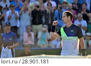 Andy Murray (GB) playing in the first round of the Nature Valley International, Eastbourne 25th June 2018. His first win since Wimbledon 2017, after returning... Редакционное фото, фотограф Phil Robinson / age Fotostock / Фотобанк Лори