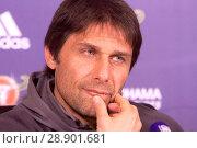 Купить «Chelsea manager Antonio Conte addressing a press conference at the Chelsea training facility in Cobham, Surrey, ahead of the club's Premier League match...», фото № 28901681, снято 4 апреля 2017 г. (c) age Fotostock / Фотобанк Лори