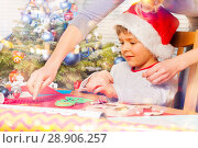 Купить «Woman helping her son to decorate holiday ornament», фото № 28906257, снято 31 декабря 2016 г. (c) Сергей Новиков / Фотобанк Лори
