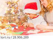 Купить «Little boy decorating Christmas ornaments with mom», фото № 28906289, снято 31 декабря 2016 г. (c) Сергей Новиков / Фотобанк Лори