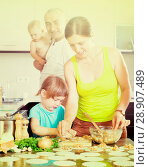 family of four making dumplings with fresh fish with stuffing and dough. Стоковое фото, фотограф Яков Филимонов / Фотобанк Лори