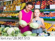 Купить «Female with kid holding cabbage in vegetables section», фото № 28907513, снято 15 августа 2018 г. (c) Яков Филимонов / Фотобанк Лори