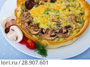 Купить «Quiche tart with mushrooms», фото № 28907601, снято 16 декабря 2018 г. (c) Яков Филимонов / Фотобанк Лори