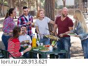 Купить «Happy friends making grill», фото № 28913621, снято 19 февраля 2019 г. (c) Яков Филимонов / Фотобанк Лори