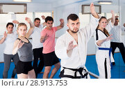 Купить «Adults trying new martial moves at karate class», фото № 28913753, снято 8 апреля 2017 г. (c) Яков Филимонов / Фотобанк Лори