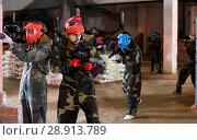 Купить «Players of red team are ready for attack on battlefield.», фото № 28913789, снято 10 июля 2017 г. (c) Яков Филимонов / Фотобанк Лори