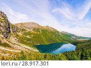 Купить «View from the height of the picturesque clear mountain lake Morskie Oko in the Tatra Mountains, Zakopane», фото № 28917301, снято 18 августа 2017 г. (c) Константин Лабунский / Фотобанк Лори