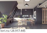 Купить «modern loft kitchen interior», фото № 28917445, снято 15 августа 2018 г. (c) Виктор Застольский / Фотобанк Лори