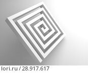 Купить «Abstract white square spiral maze 3d object», иллюстрация № 28917617 (c) EugeneSergeev / Фотобанк Лори