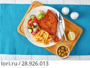 Купить «close-up of a portion of fried flounder», фото № 28926013, снято 30 июля 2018 г. (c) Oksana Zh / Фотобанк Лори