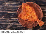 Купить «fried flounder bread crumbs on a plate», фото № 28926021, снято 30 июля 2018 г. (c) Oksana Zh / Фотобанк Лори