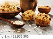 Купить «Diet oat muffins with raisins», фото № 28935505, снято 3 апреля 2018 г. (c) Надежда Мишкова / Фотобанк Лори