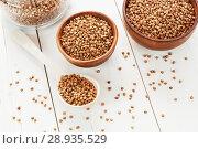 Купить «Whole buckwheat grain», фото № 28935529, снято 16 апреля 2018 г. (c) Надежда Мишкова / Фотобанк Лори