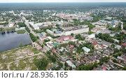 Купить «Panoramic aerial view of city of Gus-Khrustalny, Vladimir region, Russia», видеоролик № 28936165, снято 27 июня 2018 г. (c) Яков Филимонов / Фотобанк Лори