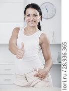 Купить «Young brunette woman in white», фото № 28936365, снято 18 февраля 2019 г. (c) Яков Филимонов / Фотобанк Лори